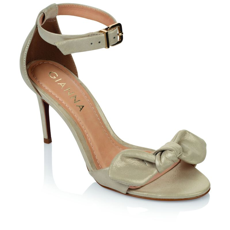 GIANNA ladies Metallic Bow  Heel  -  cream