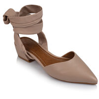 GIANNA Ladies Lace Up Low Heel -  nude